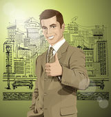 Business Man Shows Well Done — Stock Vector