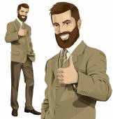 Business Man With Beard Shows Well Done — Stock Vector