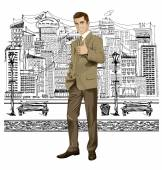 Vector Business Man Shows Well Done — Stock Vector