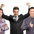 Asian team and businessman with hands up — Stock Photo #69086721