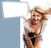 Женщина с речи пузырь — Стоковое фото