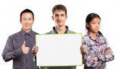 Team  with write board — Zdjęcie stockowe