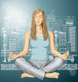 Vrouw mediteren in lotus pose — Stockvector