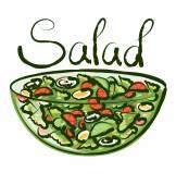 Зеленый салат с надписью — Cтоковый вектор