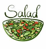Green salad with inscription — 图库矢量图片