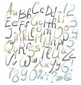 Ручной обращается алфавит с буквами — Cтоковый вектор