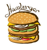 Big Hamburger with inscription — Stock Vector