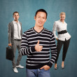 Business team and Asian Man showing well done — Stock Photo #70789645