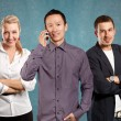 Teamwork and Asian Man call phone — Stock Photo #70789663