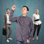 业务团队和亚洲人写的东西 — 图库照片