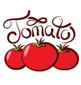 Три помидоры с каллиграфическая надпись — Cтоковый вектор