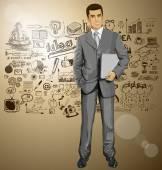 商务男人用的笔记本电脑 — 图库矢量图片