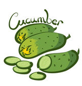 Three Cucumbers with calligraphic inscription — Stock Vector