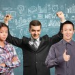 Asian team and businessman with hands up — Stock Photo #71408643