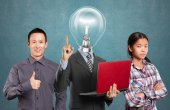 Team and lamp head man with laptop — Stock Photo