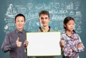 Team with write board — Stock Photo