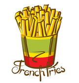 French Fries with inscription — Stock Vector
