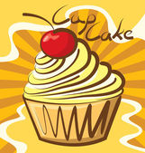 Cupcake with calligraphic inscription — Stock Vector