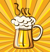 啤酒与书法题字 — 图库矢量图片