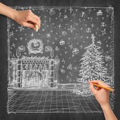 Idea Christmas background and Human Hands — Stock Photo