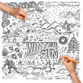 Idea winter fun background and Human Hands — Stock Photo