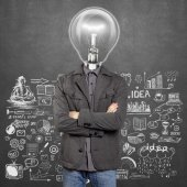 Lamp head man with folded hands — Stock Photo