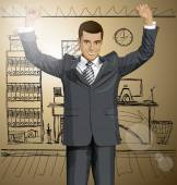 Businessman With Hands Up — Stock Vector