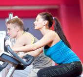 People doing cardio cycling training — Stock Photo