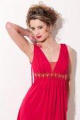 Krásná dívka s červenými vogue maekeup — Stock fotografie