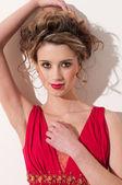 Beautiful girl with red vogue maekeup — Stock Photo