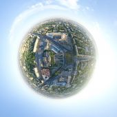 Aerial city view - little planet mode — Stock Photo