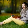 Fashion woman using a tablet computer — Stock Photo #66384337