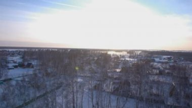 Beautiful scandinavian lapland winter aerial landscape — Stock Video