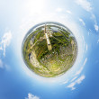 Постер, плакат: Aerial view of downtown Crossroads houses buildings and parks Little planet sphere