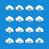 Cloud computing with shadow icon set, vector eps10 — Stock Vector