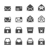 Email and mailbox icon set, vector eps10 — Stock Vector