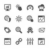 Network and search engine optimization icon set, vector eps10 — Stock Vector