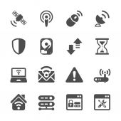 Wireless network technology icon set, vector eps10 — Stock Vector