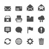 Email icon set, vector eps10 — Stock Vector