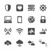 Computer network and cloud computing icon set, vector eps10 — Stock Vector