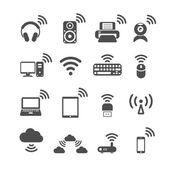 Wireless technology computer icon set, vector eps10 — Stock Vector