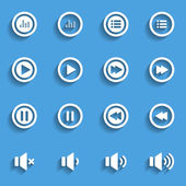 Audio and music flat icon set, flat design icon, vector eps10 — Stock Vector