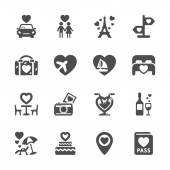 Valentine and honeymoon icon set, vector eps10 — Stok Vektör
