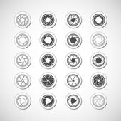 Camera shutter icon set, vector eps10 — Stock Vector