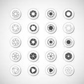 Camera shutter icon set, vector eps10 — ストックベクタ