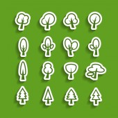 Tree paper icon set, vector eps10 — Stock Vector