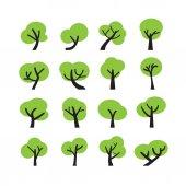 Tree icon set, vector eps10 — Vector de stock