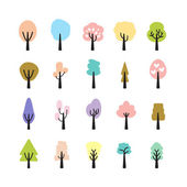 Abstract colorful tree icon set, vector eps10 — Stock Vector