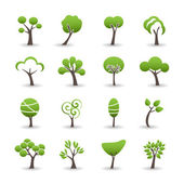 Abstract tree icon set, vector eps10 — Stock Vector