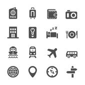 Hotel and transportation icon set, vector eps10 — Stock Vector
